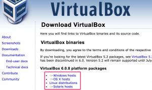 VIrtualBoxの公式ページ