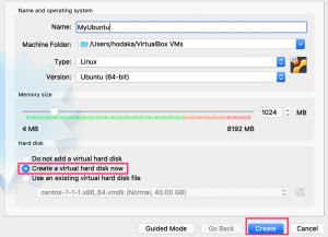 VirtualBoxでVMの新規作成1